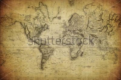 Obraz rocznik mapa świata 1814