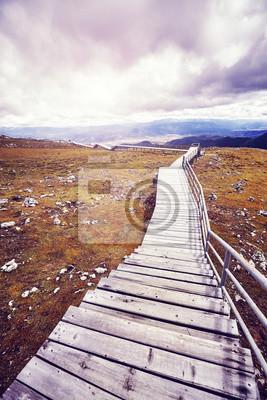 Rocznik tonujący obrazek drewniany przejście w Shika Śnieżnym Halnym scenicznym terenie, Chiny.