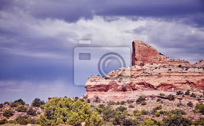 Rocznik tonujący obrazek rockowe formacje w Canyonlands parku narodowym, wyspa w niebo regionie, Utah, usa.