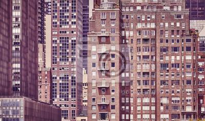 Rocznik tonujący obrazek starzy Manhattan budynki, NYC.