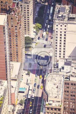 Rocznik tonujący powietrzny obrazek ulica w Miasto Nowy Jork, usa.