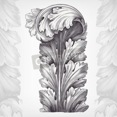 Obraz rocznik wina akantu ozdoba liści z retro wzór w stylu dekoracyjne antyczne rokoko wektora projektowania