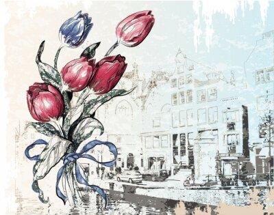 Obraz rocznika ilustracją Amsterdam ulicy i tulipany. Akwarela