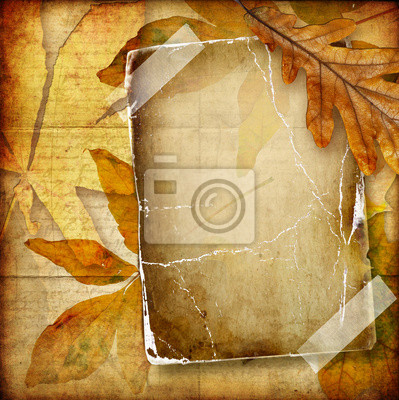 rocznika jesień skład stare ramki papieru