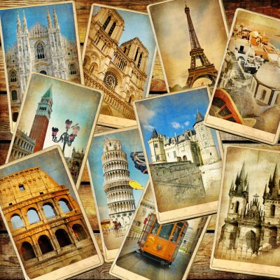 Obraz rocznika kolaż turystyczna