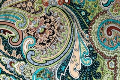 Obraz rocznika kolorowe tkaniny z niebieskim i brązowym nadrukiem paisley