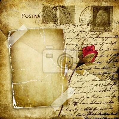 rocznika list miłosny z suchym róża