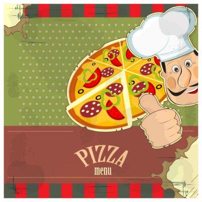 Obraz rocznika menu - szef kuchni ipizza na tle grunge