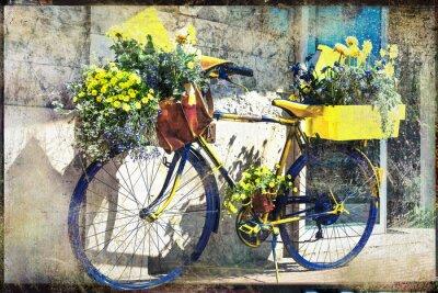 rocznika rower ozdobione kwiatami, artystyczny obraz retro