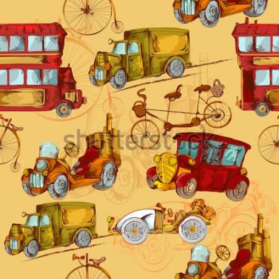 Obraz Rocznika steampunk samochodów przewiezeni samochody przewożą barwioną bezszwową deseniową wektorową ilustrację