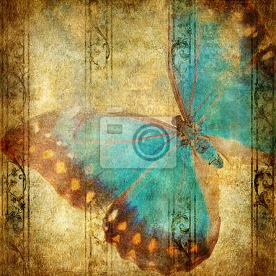 Rocznika tle z niebieskim motyl nad grunge tapety