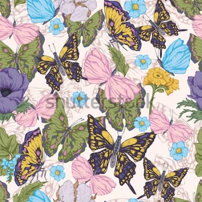 Obraz Rocznika wektorowy bezszwowy tło z motylami i kwiatami. Naturalny kwiatowy wzór. Ilustracja botaniczna