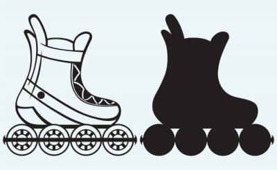 Obraz Roller Skate samodzielnie na niebieskim tle