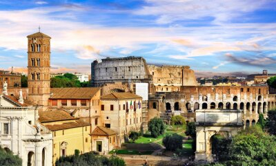Roman Imperieal Forum and Colosseum. Landmarks of Italy