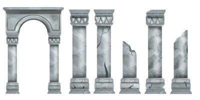 Obraz Roman marble pillars set, ancient vector Greek stone broken columns collection, antique architecture. Classic pillars colonnade, decorative arch design element, portal ruin. Marble pillar illustration