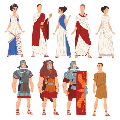 Obraz Roman Men and Women in Traditional Clothes Collection, Ancient Rome Citizens and Legionnaires Characters Vector Illustration