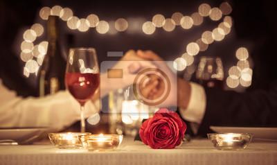 Obraz Romantic dinner date, Valentines day, anniversary concepts.
