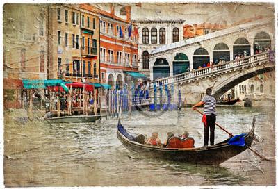 romantic Venetian Kanały-artystyczny obraz w stylu malarstwa