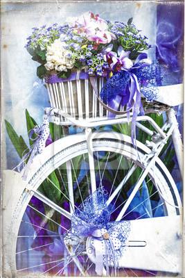 Romantyczne winobrania kart - rower z kwiatami