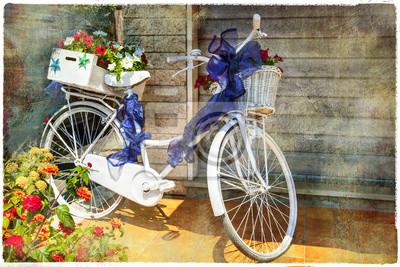 romantyczny kwiatowy karty - rower, grafika w stylu malarstwa