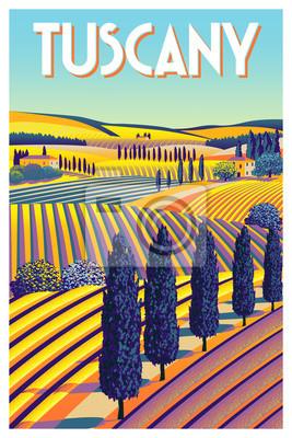 Obraz Romantyczny wiejski krajobraz w słonecznym dniu w Włochy z winnicami, gospodarstwami rolnymi, łąkami, polami i drzewami w tle