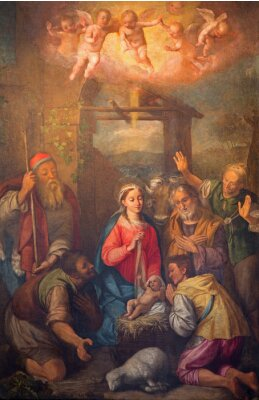 Obraz Rome - Adoration of shepherds paint in church Chiesa Nuova