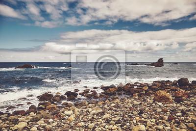 Roque de Las Bodegas Beach  in the area of Taganana, retro color toning applied, Tenerife, Spain.