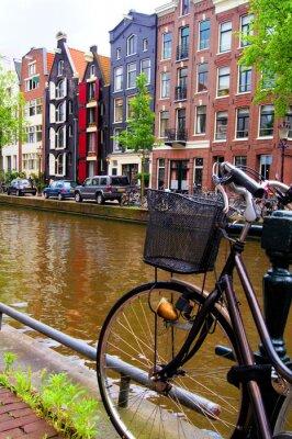 Obraz Rowerów wzdłuż kanałów w Amsterdamie, Holandia
