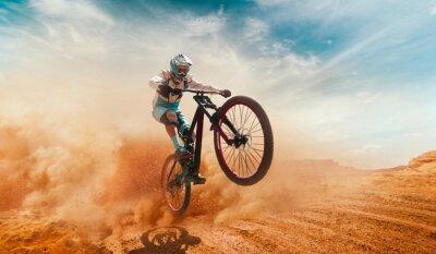 Obraz Rowerzysta, jazda na rowerze. Spadek.
