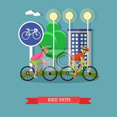 rowerzystów na rowerach w parku miejskim. Kolarstwo sport concept animowanych bannerów. ilustracji wektorowych