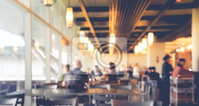 Obraz Rozmycie ludzi w kawiarni, restauracja z lekkim bokeh tle.