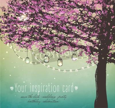 Obraz różowe drzewo dekoracyjne światła dla partii. Garden party zaproszenie. Inspiracją do karty, data ślubu, urodziny, tea party
