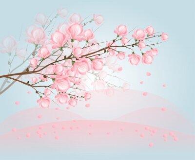 Obraz Różowy kwiat magnolii na niebie