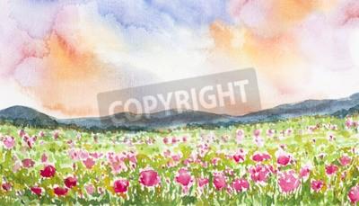 Obraz różowy kwiat pole krajobrazu akwarela na papierze