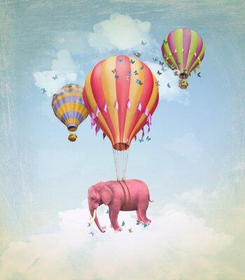 Obraz Różowy słoń w niebo z balonów. Ilustracja