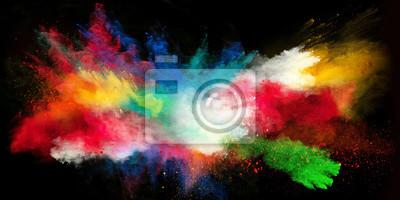 Obraz Rozpoczęty kolorowy proszek na czarnym tle