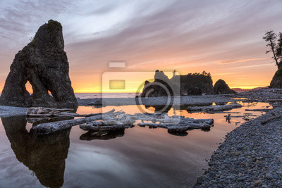 Ruby Beach Sunset Reflecting Pool