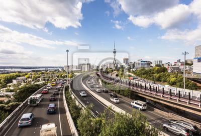 Ruch drogowy dżem na Auckland autostradach w Nowa Zelandia