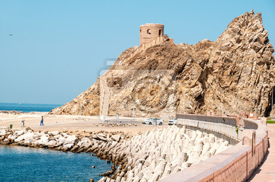 Ruiny twierdza na wybrzeżu Muscat.