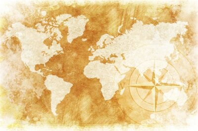 Obraz Rustic Mapa świata