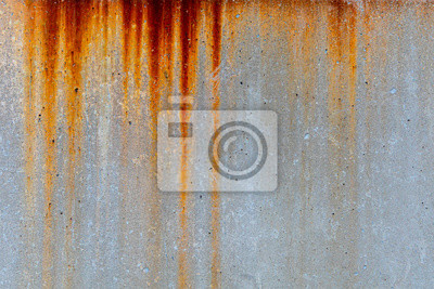 Obraz Rusty metal stain texture on concrete wall for old industry building background