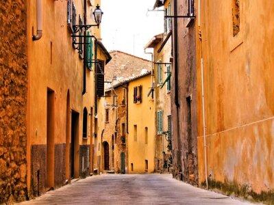Obraz Rustykalny średniowieczna ulica w mieście, w Toskanii, Włochy