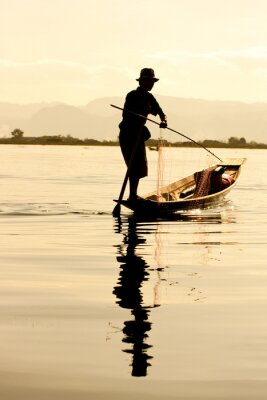 Obraz Rybak w Inle Lake, Myanmar.