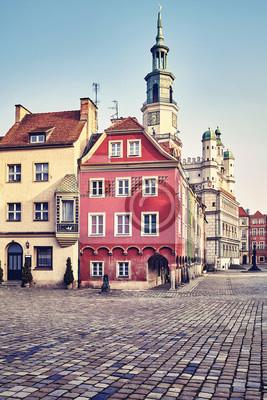 Rynek Starego Miasta w Poznaniu na wschód, retro stonowanych obraz, Polska.