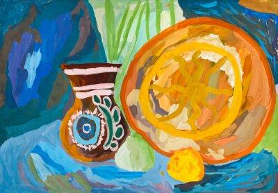 Obraz rysunek - ceramiczny wazon i talerz