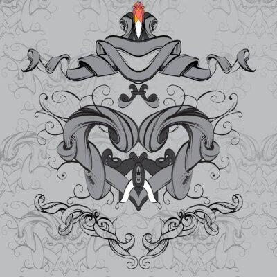 Obraz rysunek ręka rocznika ramka elementy barokowe na cele reklamowe w stylu vintage, vector ornament, kadrowanie logo dla tekstu