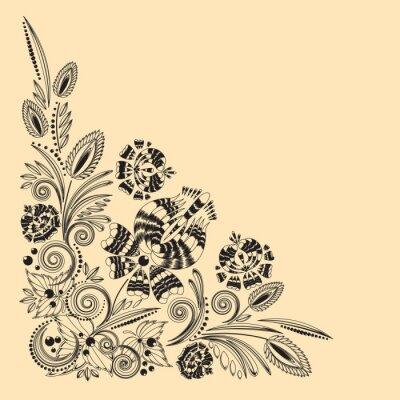 Obraz rysunek rocznika kwiatowy ornament na żółtym tle