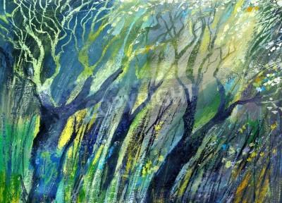 Obraz Rysunek tła drewna w odcieniach zieleni