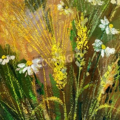 Obraz Rysunek tła dzikich kwiatów