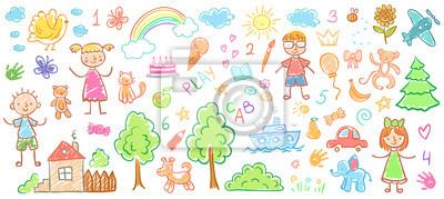 Obraz Rysunki dzieci. Dzieciaki doodle obrazy, dziecko kredkowy rysunek i ręka rysująca, żartują wektorową ilustrację